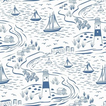 From Old Harry Rocks Blue on White Scenic Seaside Beach Lighthouse Sailing Sailboat Cotton Fabric