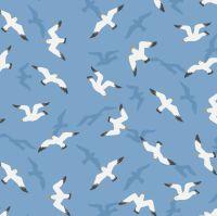 From Old Harry Rocks Swanage Seagulls on Sunny Sky Blue Seaside Beach Bird Cotton Fabric