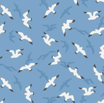 From Old Harry Rocks Swanage Seagulls on Sunny Sky Blue Seaside Beach Bird Cotton Fabric