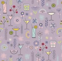Cocktail Party on Mellow Mauve Lilac Happy Hour Cocktails Glasses Party Drinks Cocktail Glass Cotton Fabric