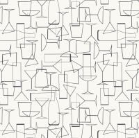 Cocktail Party Glasses on White Happy Hour Cocktail Glass Party Drinks Monochrome Cotton Fabric