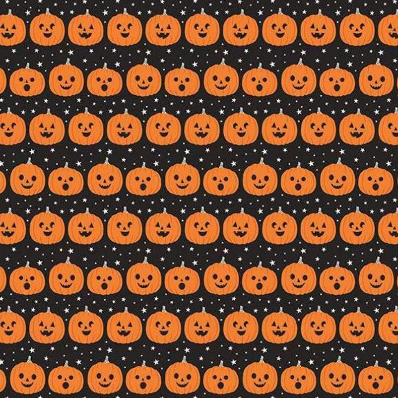 Halloween Jacks Pumpkins Jack O' Lantern Pumpkin Gray Spooky Cotton Fabric