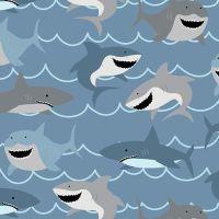 Sharks Blue Happy Smiling Shark Swimming Novelty Cotton Fabric