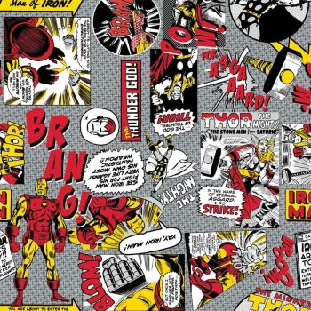 Marvel Comic Pop Power Iron Man VS Thor Superhero Comic Books Heroes Cotton Fabric