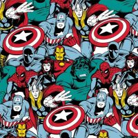 Marvel Comic Pop Power Avengers Superhero Packed Character Thor Hulk Captain America Iron Man Cotton Fabric