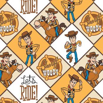 Toy Story 4 Disney Pixar Woody Sherriff Cowboy Wild West Star Bullseye Cotton Fabric
