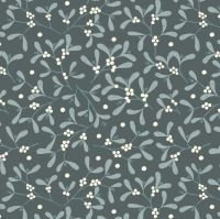 Winter in Bluebell Wood Mistletoe on Dark Grey Blue Christmas Botanical Cotton Fabric