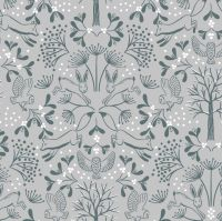 Winter in Bluebell Wood Winter Wood Animals Grey Christmas Woodland Fox Hare Owl Cotton Fabric