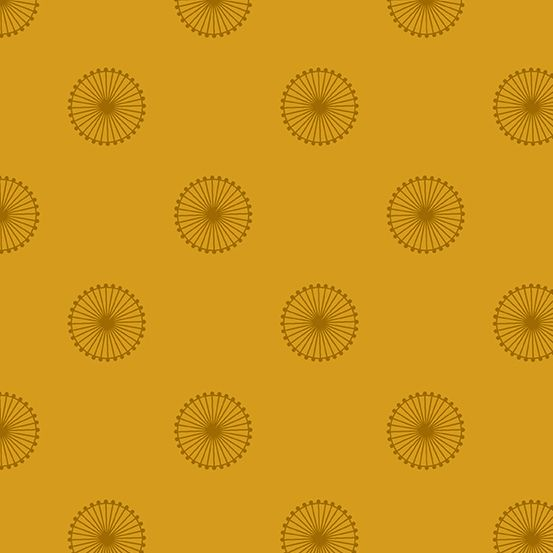 Quantum Chromosome Siena Mustard Yellow Circles Linear Geometric Lines Blen