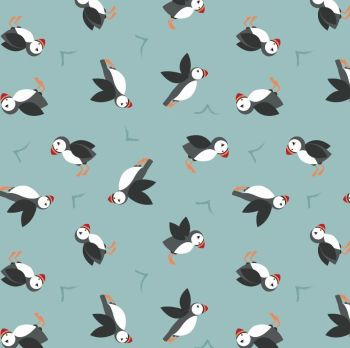 Small Things By The Sea Puffins on Blue Turquoise Puffin Coastal Birds Sea Ocean Cotton Fabric