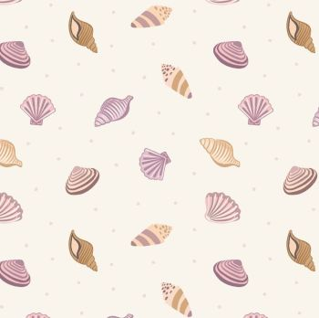Small Things By The Sea Shells on Cream Shell Cotton Fabric