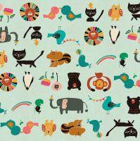 Kawaii Nakama by Naocom Animal Parade Aqua Unbleached Elephant Monkey Lion Cotton Fabric