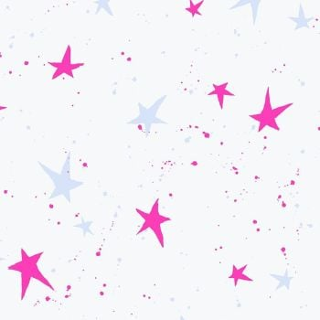 Snow Flowers Kira Kira Boshi Snow Neon Pink by Oka Emi Star Spatter Cotton Fabric