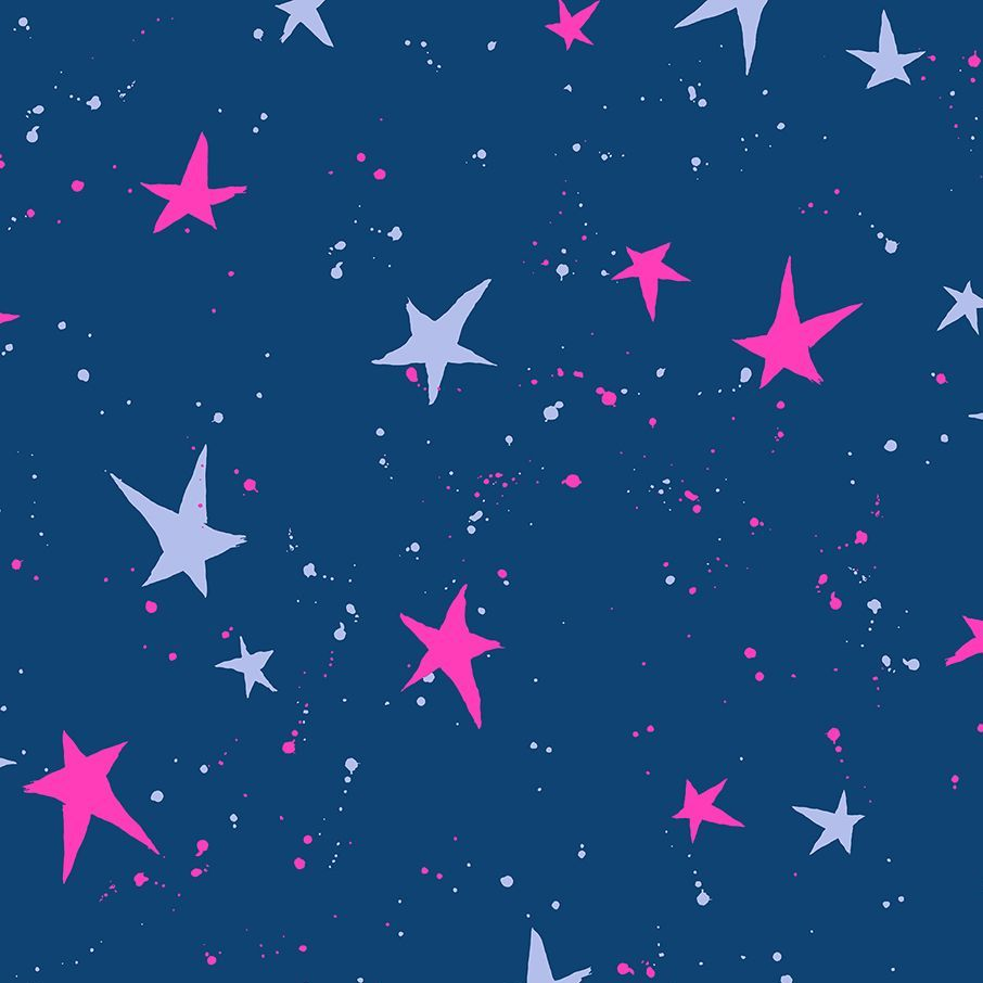 Snow Flowers Kira Kira Boshi Indigo Neon Pink by Oka Emi Star Spatter Cotto