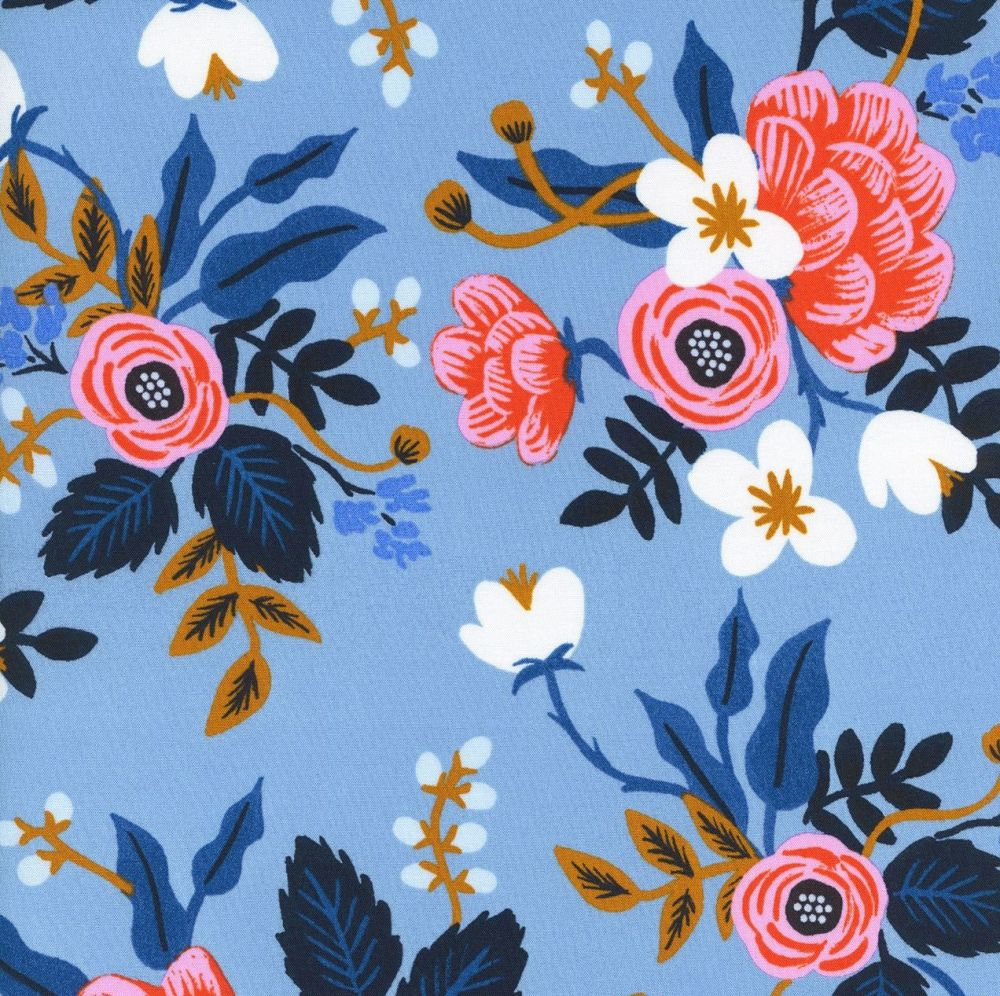 Rifle Paper Co. Les Fleurs Birch Floral Periwinkle Blue Flowers Rayon Chall