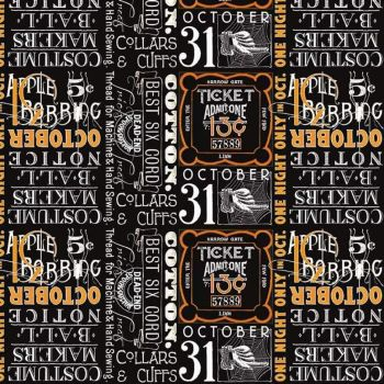 DESTASH 85cm Costume Maker's Ball Black Ticket Text Spooky Cotton Fabric