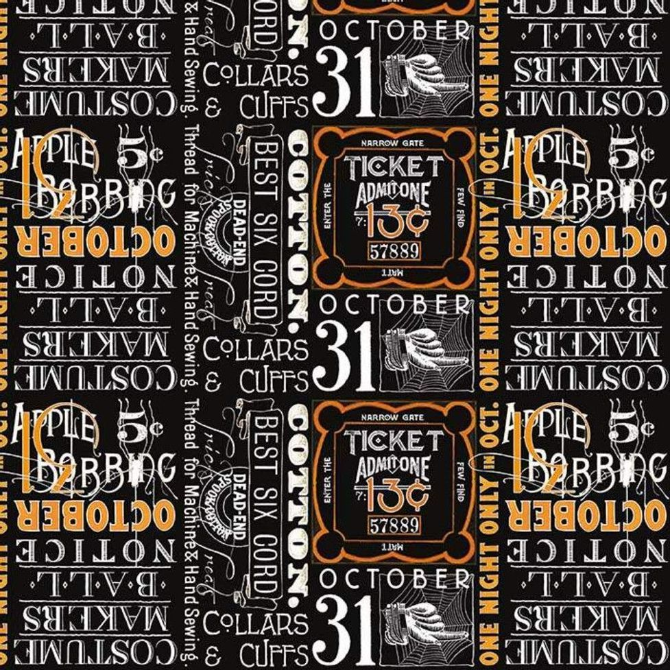 Costume Maker's Ball Black Ticket Text Spooky Cotton Fabric