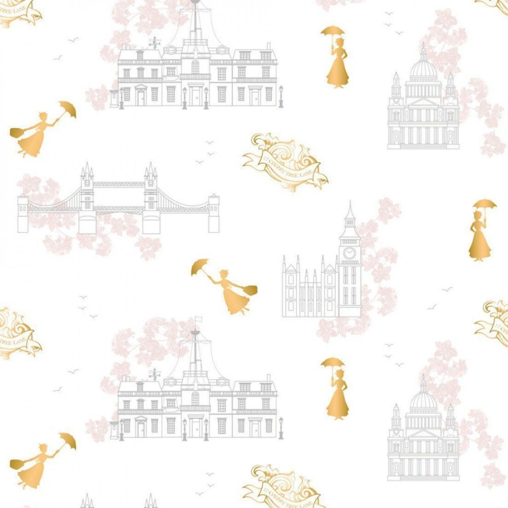 Disney Mary Poppins DELUXE Toile White Metallic Gold London Landmark Floral