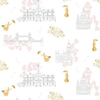 Disney Mary Poppins DELUXE Toile White Metallic Gold London Landmark Floral Cotton Fabric
