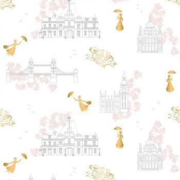 Disney Mary Poppins DELUXE Toile White Metallic Gold London Landmark Floral Cotton Fabric