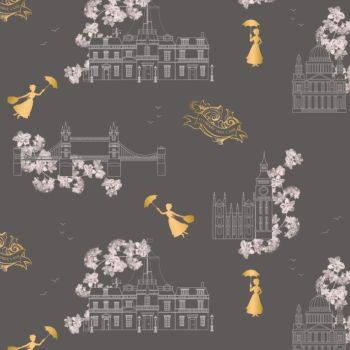 Disney Mary Poppins DELUXE Toile Grey Metallic Gold London Landmark Floral Cotton Fabric