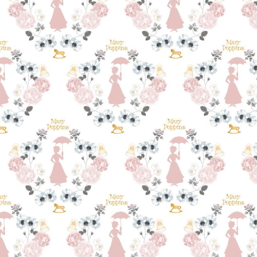 Disney Mary Poppins DELUXE Damask White Metallic Gold Floral Cotton Fabric