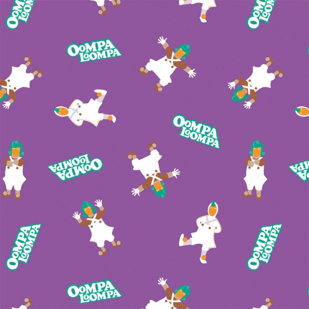Willy Wonka and the Chocolate Factory Oompa Loompa Purple Cotton Fabric