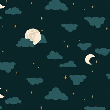 Nightsong Moonlight Night Moon Cloud Nursery Felice Regina Cotton Fabric