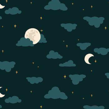 Nightsong Moonlight Night Moon Cloud Nursery Felice Regina Cotton Fabric