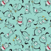 Disney Aladdin Genie Light Teal Movie Character Cotton Fabric