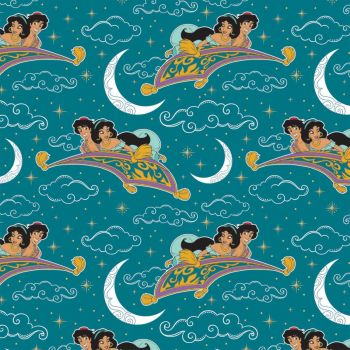 Disney Aladdin Jasmine Magic Carpet Ride Teal Movie Metallic Gold Character Cotton Fabric