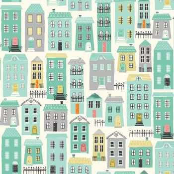 A Walk in the Park Houses Cream House Building City Cotton Fabric