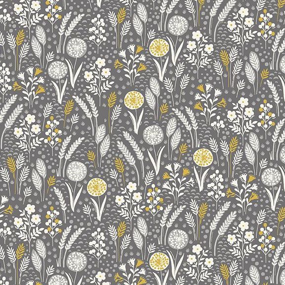 Grove Meadow Grey Leaves Leaf Floral Ditsy Flowers Cotton Fabric