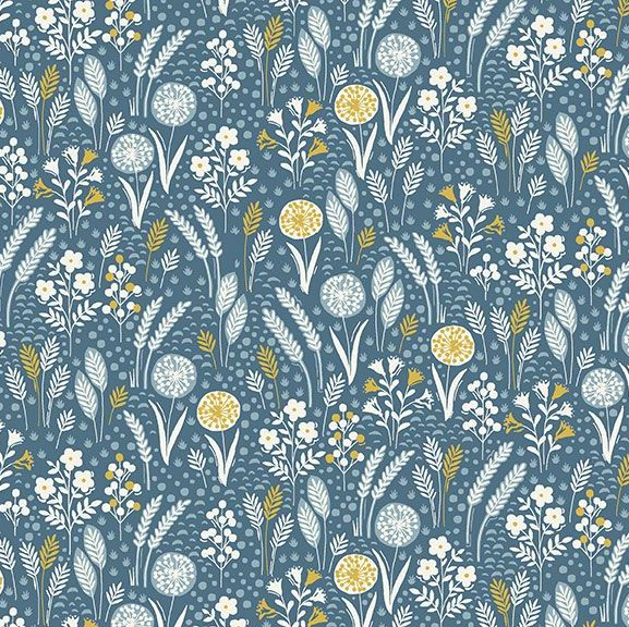 Grove Meadow Blue Leaves Leaf Floral Ditsy Flowers Cotton Fabric