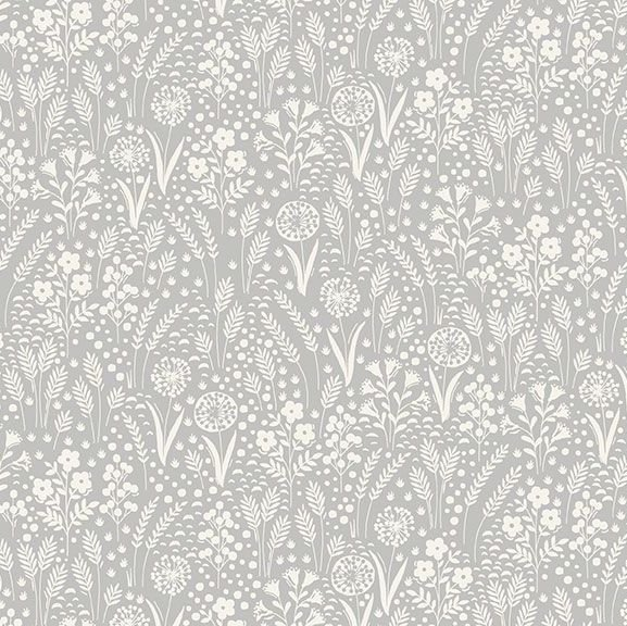 Grove Tonal Spectrum Grey Leaves Leaf Floral Ditsy Flowers Cotton Fabric