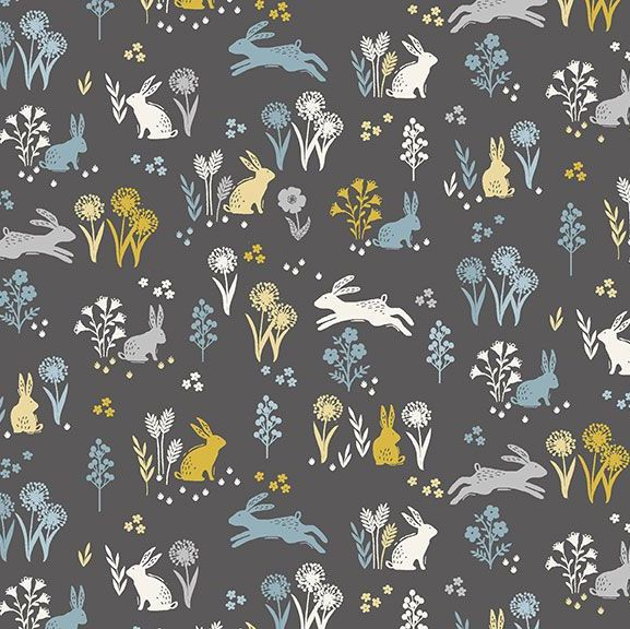 Grove Rabbits Grey Bunny Rabbit Floral Ditsy Flowers Cotton Fabric