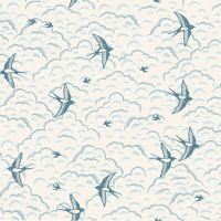 Grove Swallows Cream Clouds Sky Bird Cotton Fabric