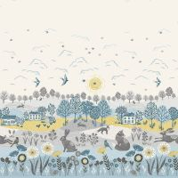 Grove Scenic Fox Hare Swallow Floral British Wildlife Countryside Double Border Panel Cotton Fabric