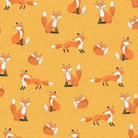 Forest Foxes Yellow Fox Woodland Cotton Fabric
