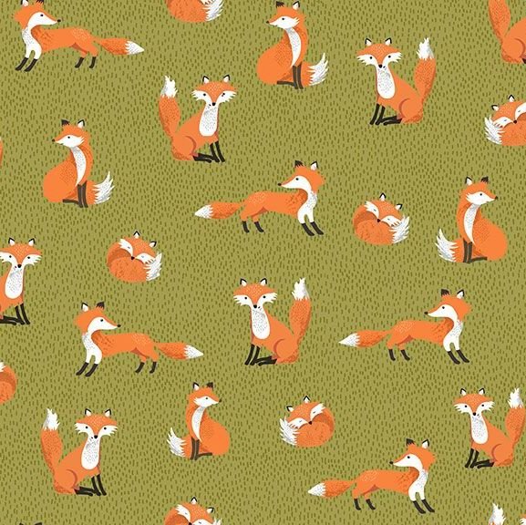 Forest Foxes Green Fox Woodland Cotton Fabric