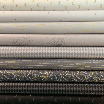 Libs Elliott Greatest Hits Vol 1 Grey Metallic 9 Half Metre Bundle Cotton Fabric Cloth Stack