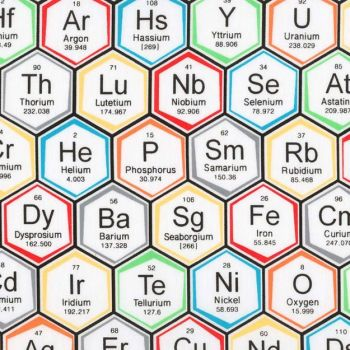 Science Fair Periodic Table of Elements Hexagon Geometric Multi Coloured Chemistry Science Geek Cotton Fabric