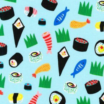 Hello Lucky Sushi Blue Ngiri Maki Fish Japanese Food Restaurant Eating Cotton Fabric