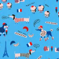 Hello Lucky France Blue Paris French Toast Eiffel Tower Patisserie Poodle Dog Dog Cotton Fabric