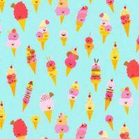 Hello Lucky Ice Cream Aqua Happy Icecream Ice Cream Cones Sundae Seaside Treat Kawaii Cotton Fabric