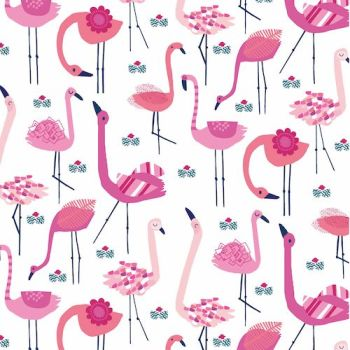 Ocean Drive Flamingos Flamingo Bird on White Tropical Miami Florida Cotton Fabric
