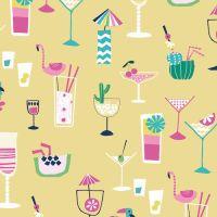 Ocean Drive Happy Hour Cocktail Drink Vacation Flamingos Tropical Miami Florida Cotton Fabric