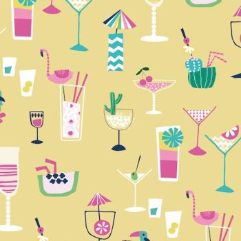 Ocean Drive Happy Hour Cocktail Drink Vacation Flamingos Tropical Miami Florida Cotton Fabric