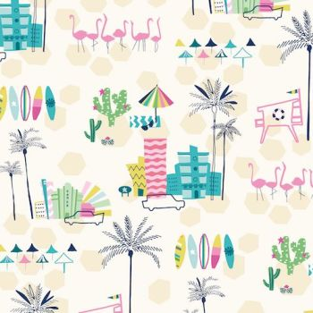 Ocean Drive Miami Strip Palm Tree Cactus City Vacation Flamingos Tropical Miami Florida Cotton Fabric