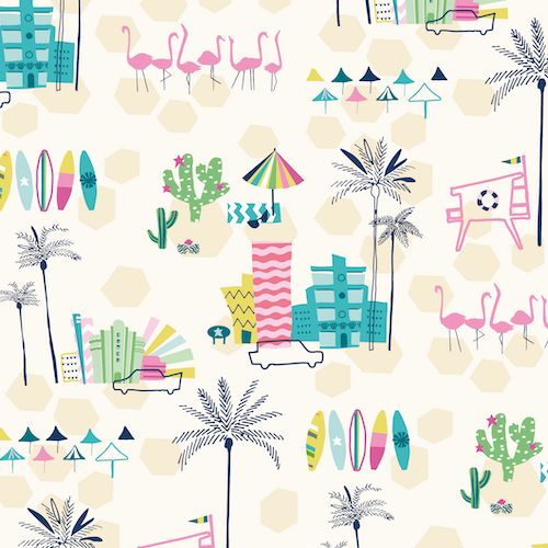 Ocean Drive Miami Strip Palm Tree Cactus City Vacation Flamingos Tropical M
